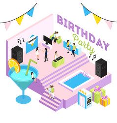 B-day party isometric composition vector
