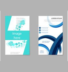 Business tri fold brochure design blue corporate vector