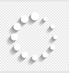 Circular loading sign white icon with vector