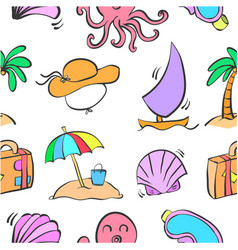 collection of summer element doodles vector image