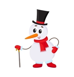 Cute and funny little snowman in cylinder hat vector image vector image