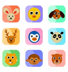 cute animal faces vector image vector image
