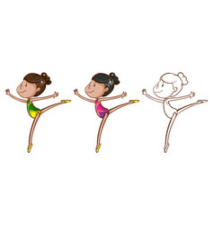 Doodle character for girl doing gymnastic vector
