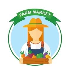 Farm market color logo woman vector
