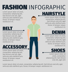 fashion infographic with adult guy vector image vector image