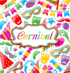 Festive card with carnival and party colorful vector image