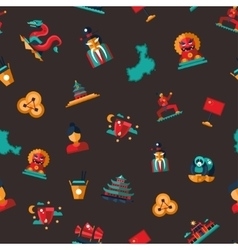 Flat design china travel icons pattern - chinese vector
