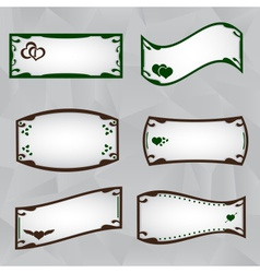 frame border set with heart symbols eps10 vector image