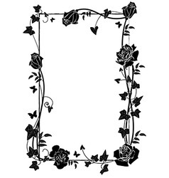 frame with roses and butterflies vector image