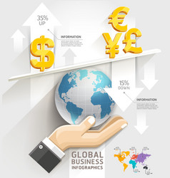 Global business scale infographics template vector