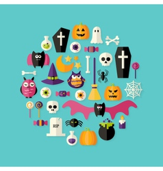 Halloween Flat Icons Set Over Blue vector image vector image