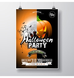 Halloween party flyer with pumpkin and moon vector