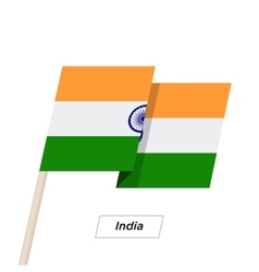 India Ribbon Waving Flag Isolated on White vector image vector image