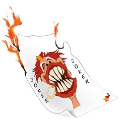 Joker a playing card and fire vector