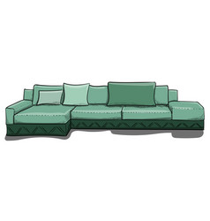 large gray-green sofa with pillows in shades of vector image vector image