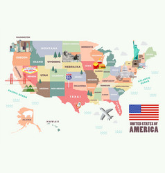 Map of the united states of america with famous vector