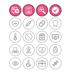 Medicine icons syringe heartbeat and pills vector