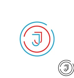 Modern letter j logo monogram outline emblem vector