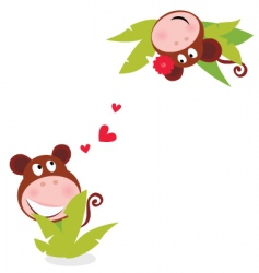 monkey male female vector image vector image