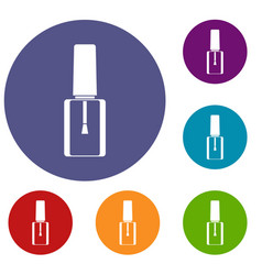 Nail polish bottle icons set vector