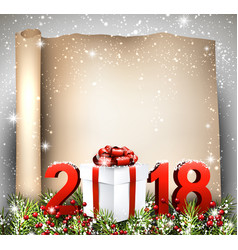 new year 2018 scroll background vector image vector image
