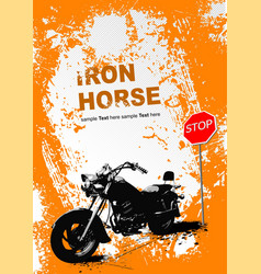 orange gray background with motorcycle image vector image vector image