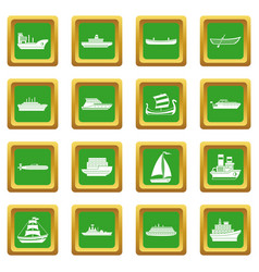 Sea transport icons set green vector
