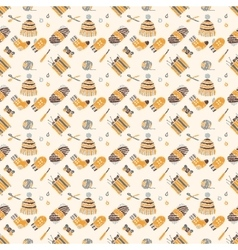 Seamless pattern on a knitting theme brown things vector