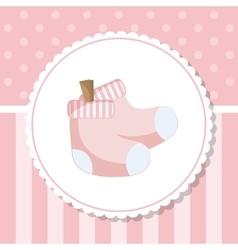 Socks of baby shower card design vector image vector image