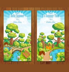 Summer vacation landscapes vertical banner vector
