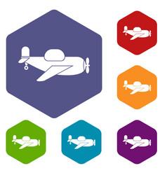 Toy plane icons set hexagon vector