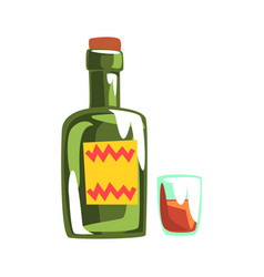 whiskey bottle and glass colorful cartoon vector image