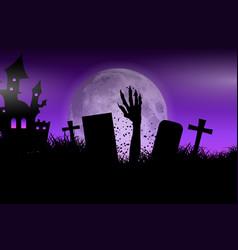 zombie hand in halloween landscape vector image vector image