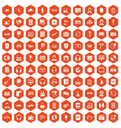 100 headphones icons hexagon orange vector
