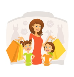 Happy woman with kids on shopping vector image