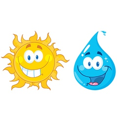 Sun And Water Cartoon Characters vector image