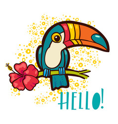 Bird toucan tropical hibiscus flower in cartoon vector