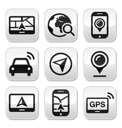 GPS navigation travel buttons set vector image