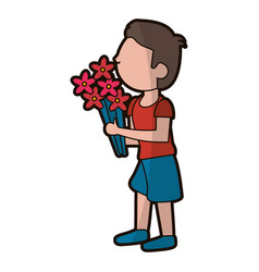 Cartoon son boy with flowers bunch vector