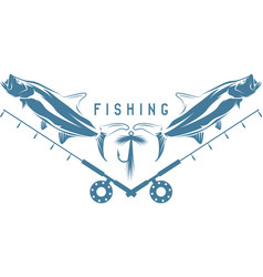 fishing vintage with tarpon fish lure and f vector image