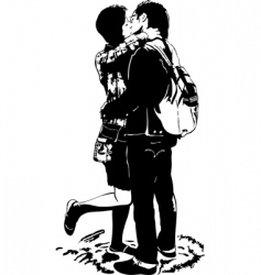 kiss in embraces vector image