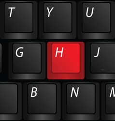 keyboard with red h sign vector image