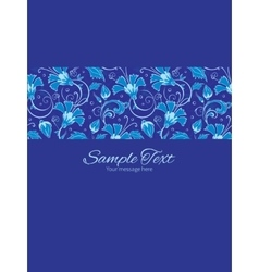 Dark blue turkish floral stripe frame vector