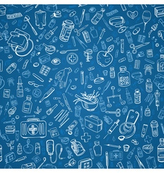 Medicine doodle seamless background vector
