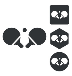 Table tennis icon set monochrome vector