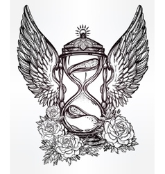 Romantic design of a winged hourglass with roses vector