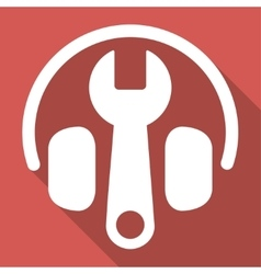 Headphones tuning long shadow square icon vector