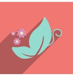 Flat icon with long shadow butterfly flowers vector