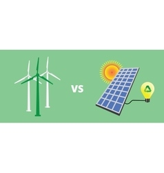 Green energy solar panel vs versus wind turbine vector