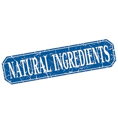 Natural ingredients blue square vintage grunge vector